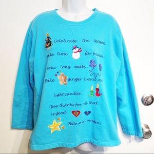 Quacker Factory Christmas Embroidered Sweatshirt